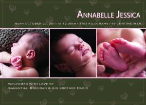 Sample Birth Announcement Card